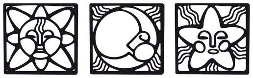 Pagan symbols. Sun, moon and star symbols in pagan style stock illustration