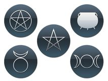 Pagan Symbols. Five different pagan symbols in buttons Stock Image