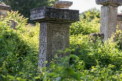 Pagan Tombstone in the village of Rajac, near Negotin, Serbia stock image