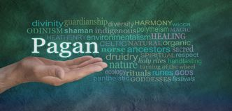 Pagan Word Cloud. Male hand outstretched on a green stone effect background with the word PAGAN floating above surrounded by a relevant word cloud royalty free stock images