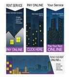 Pagando ad affitto le insegne online Fotografia Stock