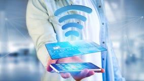 Pagando con il concetto senza contatto della carta di credito - 3d rendono Fotografia Stock