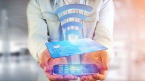 Pagando con il concetto senza contatto della carta di credito - 3d rendono Immagine Stock Libera da Diritti