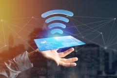 Pagando con il concetto senza contatto della carta di credito - 3d rendono Immagine Stock