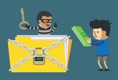 Pagando el dinero al criminal cibernético desbloquee el archivo de datos ilustración del vector