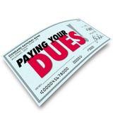 Pagando il vostro controllo dei debiti esprime l'obbligo Requiremen dei guadagni dei soldi royalty illustrazione gratis