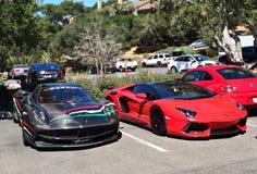 Pagani Huayra y Lamborghini Aventador Fotos de archivo libres de regalías
