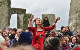 Pagans and Druids Mark the Winter Solstice at Stonehenge Royalty Free Stock Photo