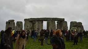 Pagans and Druids Mark the Winter Solstice at Stonehenge Stock Image