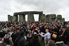 Pagans and Druids Mark the Winter Solstice at Stonehenge Royalty Free Stock Image