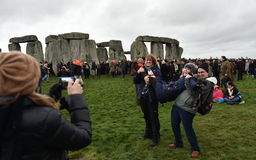 Pagans and Druids Mark the Winter Solstice at Stonehenge Stock Images