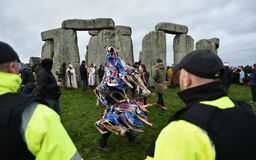Pagans and Druids Mark the Winter Solstice at Stonehenge Stock Photos