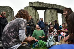 Pagans and Druids Mark the Winter Solstice at Stonehenge. Pagans, druids and revellers celebrate the winter solstice at Stonhenge on December 22, 2015 at Stock Image