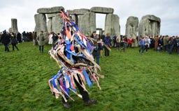 Pagans en Druïdenteken de de Winterzonnestilstand in Stonehenge Royalty-vrije Stock Afbeelding