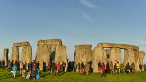 Pagans Mark the Autumn Equinox at Stonehenge. Pagans and druids celebrate the spring equinox at the ancient standing stones on September 23, 2015 in Stonehenge Stock Photos