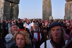 Pagans Mark the Autumn Equinox at Stonehenge. Pagans and druids celebrate the spring equinox at the ancient standing stones on September 23, 2015 in Stonehenge Royalty Free Stock Image