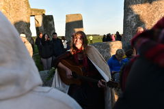 Pagans Mark the Autumn Equinox at Stonehenge. Pagans and druids celebrate the spring equinox at the ancient standing stones on September 23, 2015 in Stonehenge Royalty Free Stock Images