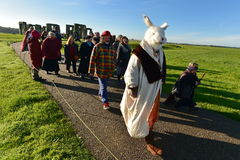 Pagans Mark the Autumn Equinox at Stonehenge. Pagans and druids celebrate the spring equinox at the ancient standing stones on September 23, 2015 in Stonehenge Stock Images
