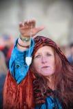 Pagans markerar Autumn Equinox på Stonehenge Royaltyfri Foto