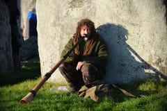 Pagans markerar Autumn Equinox på Stonehenge Arkivbild