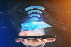 Pagar com conceito sem contato do cartão de crédito - 3d rendem Imagem de Stock Royalty Free