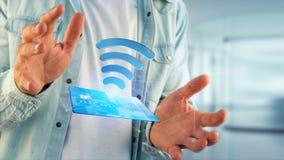Pagar com conceito sem contato do cartão de crédito - 3d rendem Foto de Stock Royalty Free