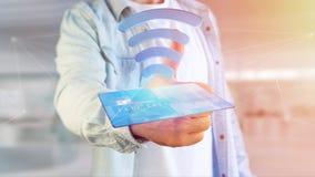 Pagar com conceito sem contato do cartão de crédito - 3d rendem Fotografia de Stock