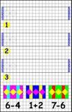 Page éducative avec des exercices pour des enfants sur un papier carré Photographie stock libre de droits