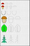 Page éducative avec des exercices pour des enfants sur un papier carré Image libre de droits