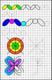 Page éducative avec des exercices pour des enfants sur un papier carré Photo stock