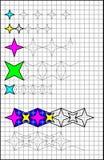 Page éducative avec des exercices pour des enfants sur un papier carré Photos stock