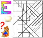 Page éducative avec la lettre E pour l'anglais d'étude Puzzle de logique La découverte et peignent 5 lettres E illustration de vecteur