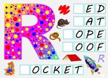 Page éducative pour des enfants avec la lettre R pour l'anglais d'étude Devez écrire les lettres dans les places vides Image libre de droits