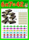 Page éducative pour des enfants avec la table de multiplication Photo stock