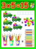 Page éducative pour des enfants avec la table de multiplication Image stock