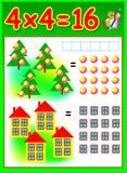 Page éducative pour des enfants avec la table de multiplication Image libre de droits