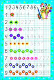 Page éducative pour des enfants sur un papier carré avec des nombres Photo stock