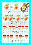 Page éducative pour des enfants sur un papier carré avec des nombres Photographie stock libre de droits