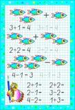 Page éducative pour des enfants sur un papier carré avec des nombres Image libre de droits