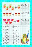 Page éducative pour des enfants sur un papier carré avec des nombres Photos stock