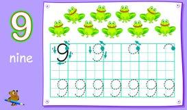 Page éducative pour les enfants en bas âge avec le numéro neuf Qualifications se développantes pour écrire et compter illustration libre de droits