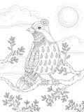 Page adulte de coloration avec le bel oiseau de dame Images libres de droits