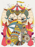 Page adulte de coloration d'éléphant Photo libre de droits
