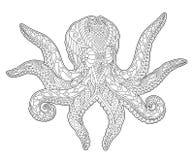 Page adulte de livre de coloriage avec le poulpe stylisé illustration de vecteur