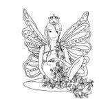Page adulte de livre de coloriage avec la dame enceinte féerique Grossesse dans l'art de style de zentangle Rebecca 36 Images libres de droits