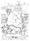 Page adulte de livre de coloriage avec la dame enceinte Grossesse dans l'art de style de griffonnage Photographie stock libre de droits