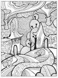 Page adulte difficile tirée par la main de livre de coloriage pour des adultes ou des enfants Image stock