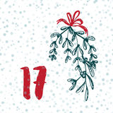Page Advent Calendar 25 days of Christmas with space for text. Royalty Free Stock Photos