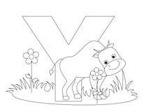 Page animale de coloration de l'alphabet Y illustration stock