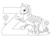 Page animale de coloration de l'alphabet Z illustration de vecteur